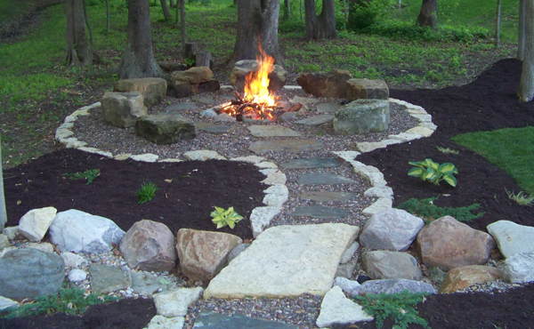 Fire pits greenwood in landscape design installation for Backyard rock fire pit ideas