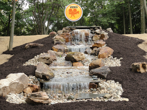 Waterfalls and streams greenwood in landscape design
